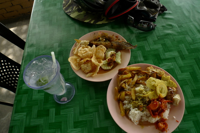 At noon, I reached Ulu Yam Baru and lunched at a warung where the food had just come out of the kitchen. I had a bit of this and that -- fried catfish, potato, bamboo shoots, sotong, rendang kerang and empeng, and a glass of fresh lime.