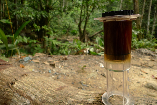 Aeropress in action...for my caffeine fix. Honestly, it's quite hard to top a day like this ... next to the gurgling river among tall shady trees, enjoying the solitude and cool, fresh country air.