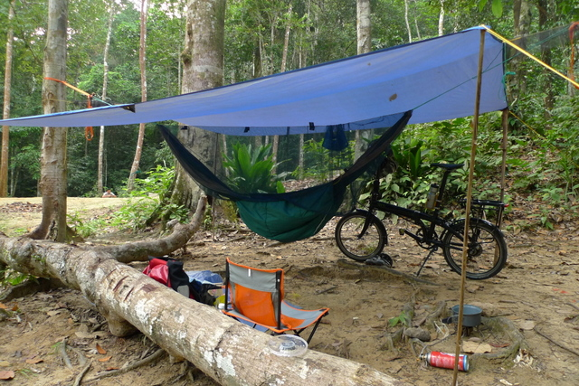 the hammock is up, as well as the camp chair...slightly bulky but worth every bit of its weight