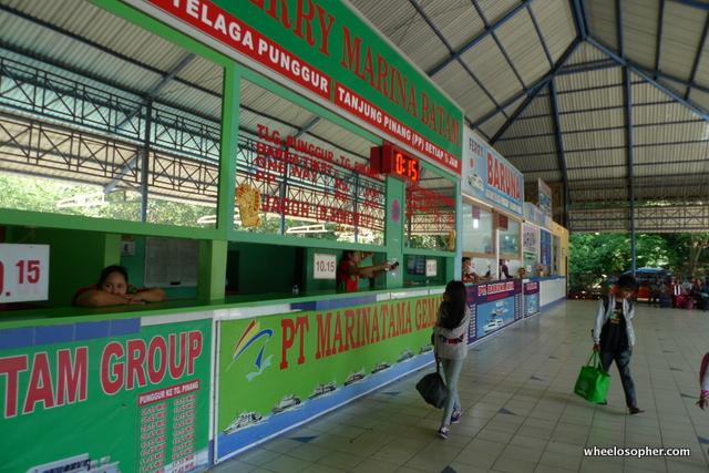 Ticketing booths at Telaga Punggur ferry terminal